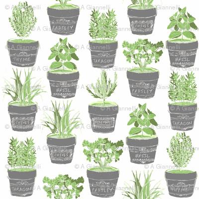 herbs in chalkboard pots