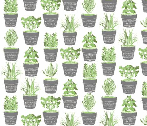 herbs in chalkboard pots fabric by bubbledog on Spoonflower - custom fabric