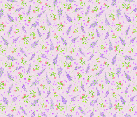Lavender and roses fabric by dinorahdesign on Spoonflower - custom fabric