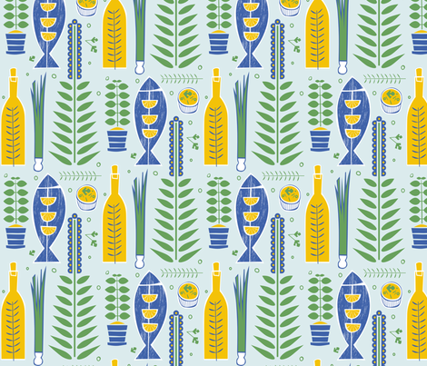 Herbs with Fish in Blue fabric by chris_jorge on Spoonflower - custom fabric