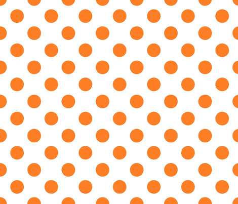 Orange fox polka dots on white