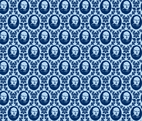Captain Damask Blue fabric by knitmileofdoom on Spoonflower - custom fabric