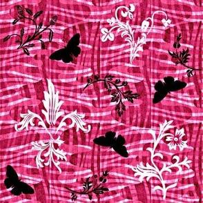 leafy weave fleur de lis and butterflies rose
