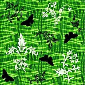 leafy weave fleur de lis and butterflies verdant