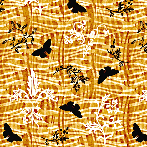 leafy weave fleur de lis and butterflies rum fabric by glimmericks on Spoonflower - custom fabric