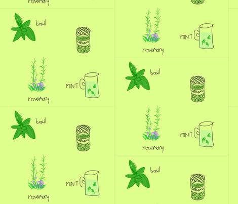 herb garden green fabric by olafdesigns on Spoonflower - custom fabric
