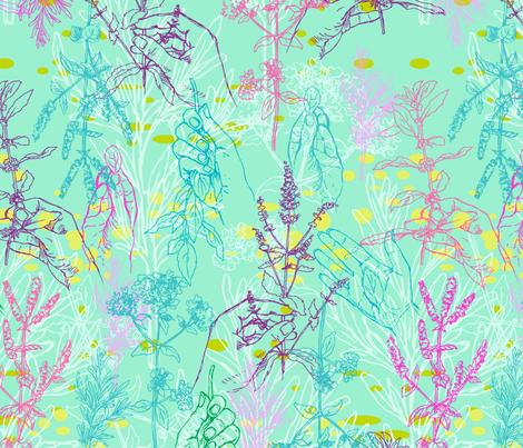 herbs in my hand fabric by ninanaina on Spoonflower - custom fabric