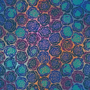 Hexie Roses Blue Hues