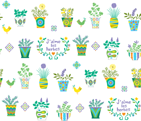 Herb Love larger fabric by andibird on Spoonflower - custom fabric