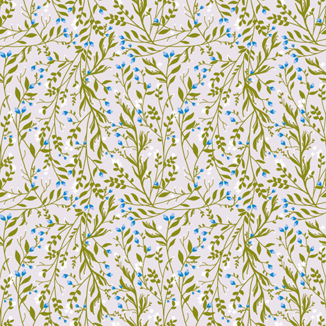 Tangled Sage Vine Frost Blossom fabric by thistleandfox on Spoonflower - custom fabric