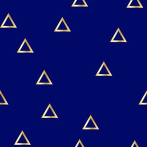 Pop Stripe Co-ordinates Triangles Navy Blue and Gold - small scale