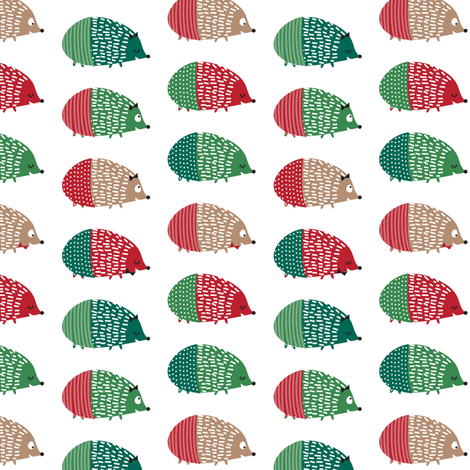 hedgehog christmas fabric by laurawrightstudio on Spoonflower - custom fabric