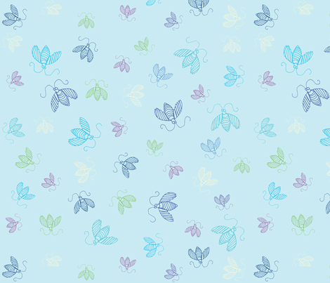 Humming Along-Blue fabric by pamela_hamilton on Spoonflower - custom fabric