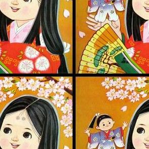 vintage kids traditional japanese oriental chinese dolls girls toddler children kimono geisha flowers princess cherry blossoms sakura ninja samurai