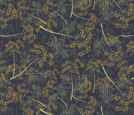 field of dill on dark fabric by kociara on Spoonflower - custom fabric