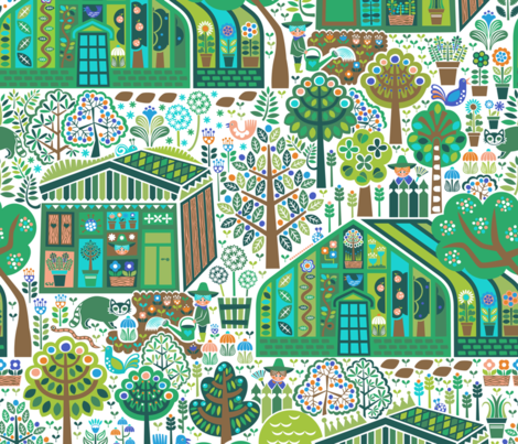 Herbie's Green Oasis fabric by christinewitte on Spoonflower - custom fabric