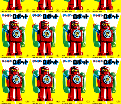 vintage retro kitsch telephone robots pop art science fiction sci fi toys futuristic advertisements advert ads commercials banners posters comics fabric by raveneve on Spoonflower - custom fabric