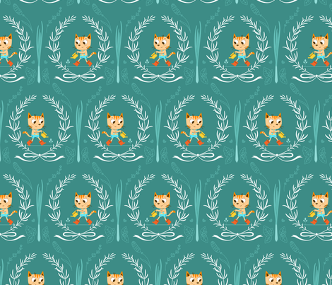 In My Spring Garden - Teal fabric by michalwright-ward on Spoonflower - custom fabric