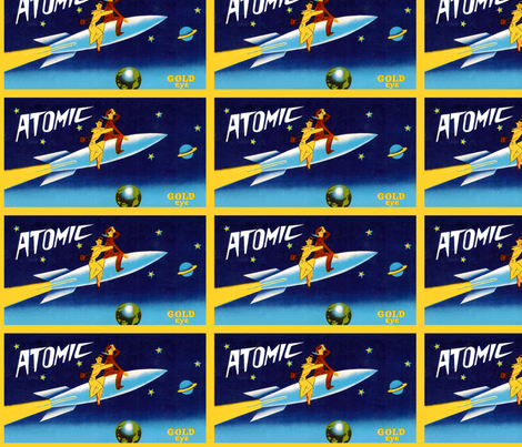vintage retro kitsch pop art science fiction sci fi toys futuristic space vehicles spaceships rockets astronauts Saturn moon cosmic galaxy earth stars fabric by raveneve on Spoonflower - custom fabric