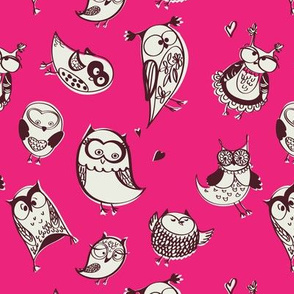 Quirky sketchy fun owl gang in hot pink