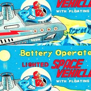 vintage retro kitsch pop art science fiction sci fi toys futuristic space vehicles spaceships rockets astronauts satellites advert ads galaxy adverts