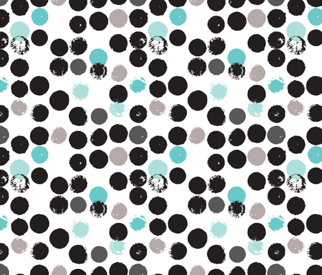 Geometric grunge raw brush stroke bubble dots fabric by littlesmilemakers on Spoonflower - custom fabric