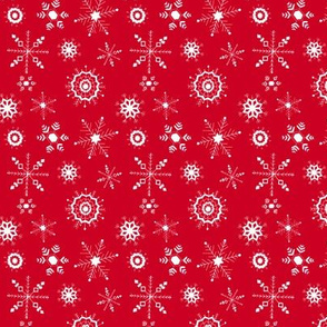 snowflakes small white on red