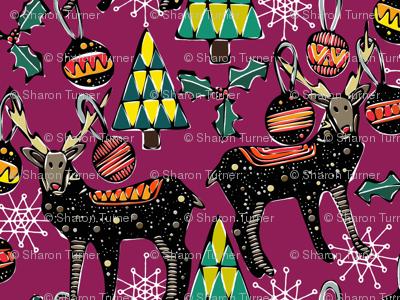 festive deer purple