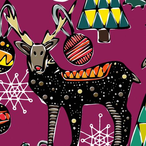 festive deer purple fabric by scrummy on Spoonflower - custom fabric