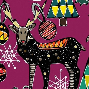 festive deer purple