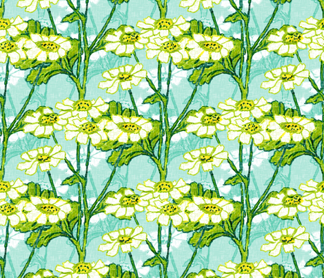 Just a Few Feverfew - Large fabric by inscribed_here on Spoonflower - custom fabric