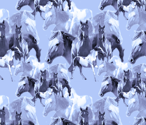 blue horses fabric by dogdaze_ on Spoonflower - custom fabric