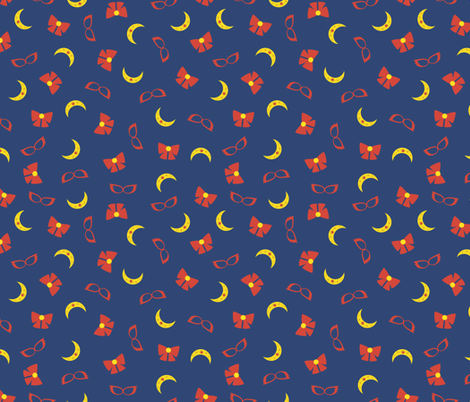 Sailor V Scatter - Blue fabric by c-rex on Spoonflower - custom fabric