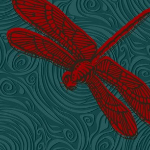 dragonfly damselfly dragonfly - red & teal