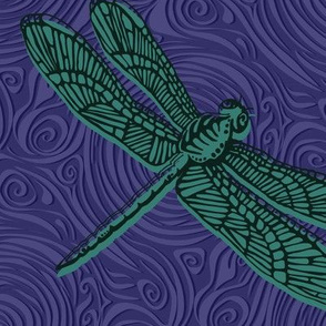 Dragonfly damselfly dragonfly - jade & purple