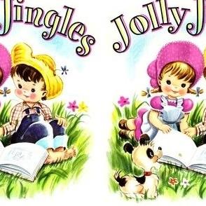 vintage kids kitsch boys girls dogs puppies puppy children nursery rhymes fairy tales childhood toddlers garden flowers farm jolly jingles songs