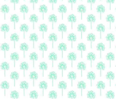 FlowerOrTreeAqua2 fabric by moharris on Spoonflower - custom fabric