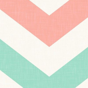 Bold chevron in Mint and Coral Linen