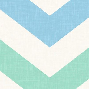 Bold Chevron in Sky and Mint Linen