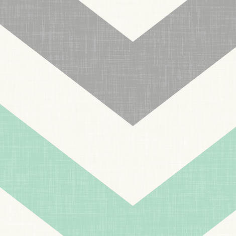 Bold Chevron in in Mint and Cashmere Linen fabric by willowlanetextiles on Spoonflower - custom fabric