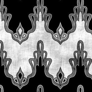 Black & White Lace Chevrons Linen