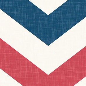 Bold Chevron in Red and Blue Linen