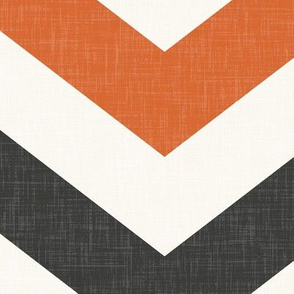 Bold Chevron in Rust and Charcoal Linen