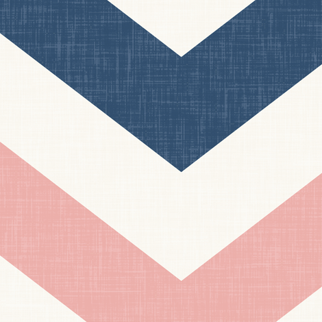 Bold Chevron in Navy and Coral Pink Linen fabric by willowlanetextiles on Spoonflower - custom fabric