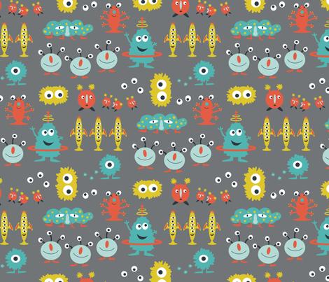 Happy aliens fabric jillbyers spoonflower for Alien print fabric