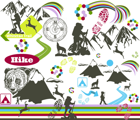 HIKE ON RAINBOW MOUNTAIN fabric by bluevelvet on Spoonflower - custom fabric