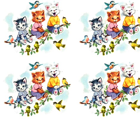 vintage retro kitsch cats kittens birds sky clouds children nursery children toddlers trees leaves kids fairy tales fabric by raveneve on Spoonflower - custom fabric