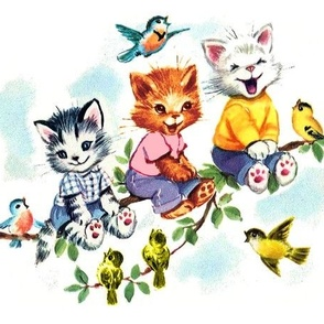 vintage retro kitsch cats kittens birds sky clouds children nursery children toddlers trees leaves kids fairy tales