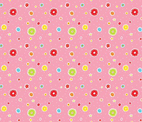 Summer-Flowers-_-Stars2 fabric by julistyle on Spoonflower - custom fabric