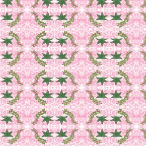 Green leaves with pink tie dye background